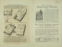 Advert for the Damp Leaf Copier & Schlicht's Standard Indexes
